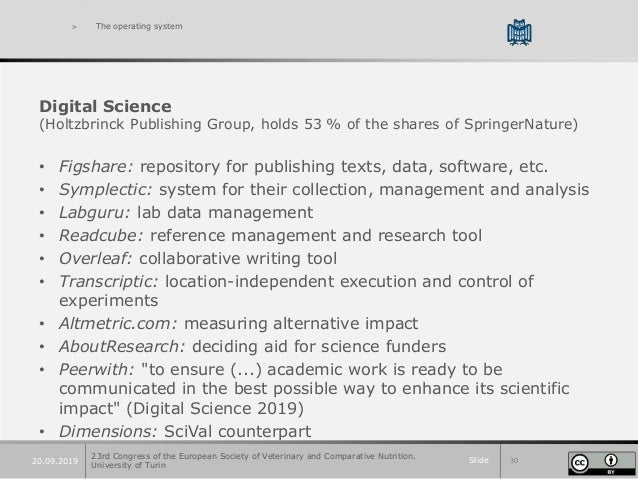 Slide 3020.09.2019 > The operating system Digital Science (Holtzbrinck Publishing Group, holds 53 % of the shares of Sprin...