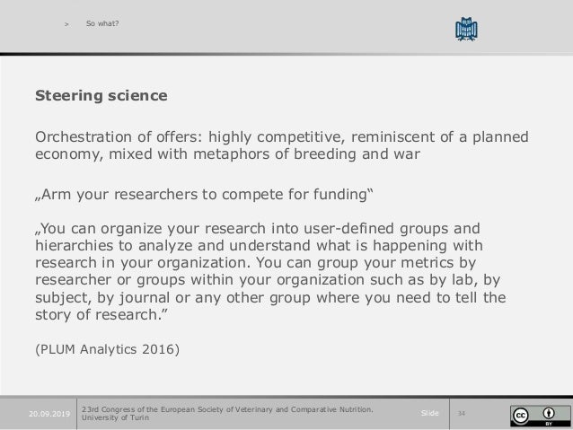 Slide 3420.09.2019 > So what? Steering science Orchestration of offers: highly competitive, reminiscent of a planned econo...