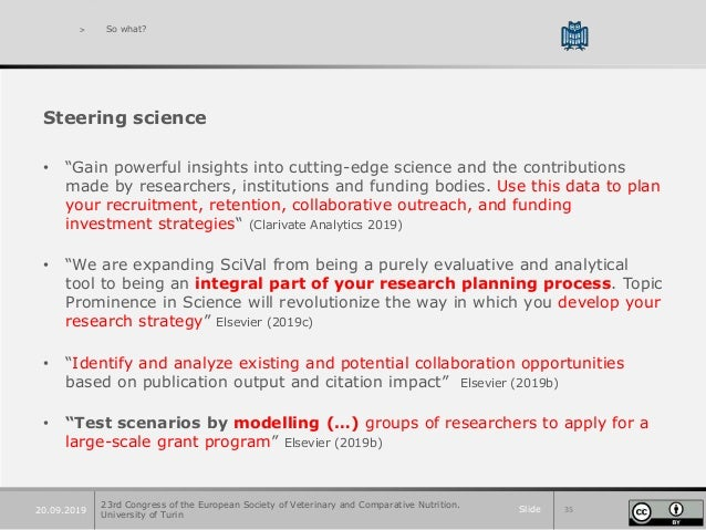 """Slide 3520.09.2019 > So what? Steering science • """"Gain powerful insights into cutting-edge science and the contributions m..."""