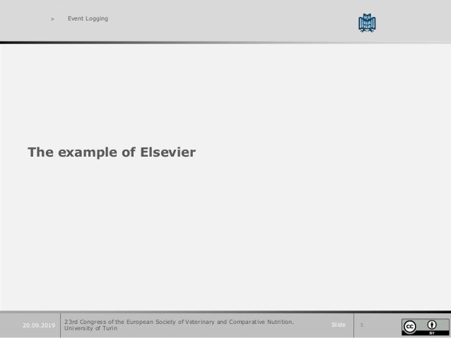 Slide 520.09.2019 > Event Logging The example of Elsevier 23rd Congress of the European Society of Veterinary and Comparat...