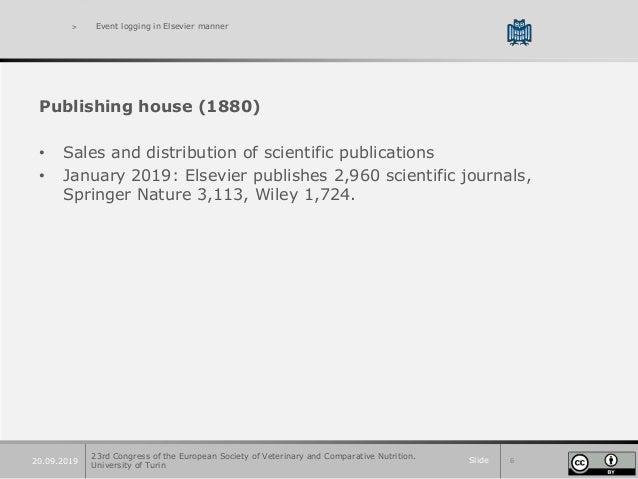 Slide 620.09.2019 > Event logging in Elsevier manner Publishing house (1880) • Sales and distribution of scientific public...
