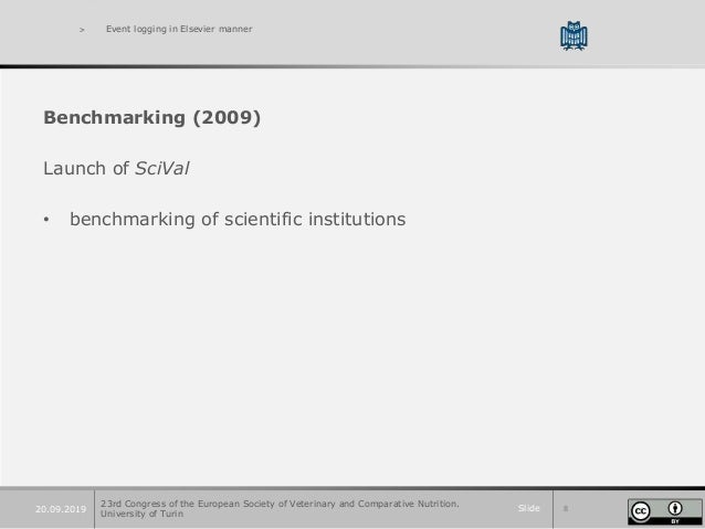 Slide 820.09.2019 > Event logging in Elsevier manner Benchmarking (2009) Launch of SciVal • benchmarking of scientific ins...