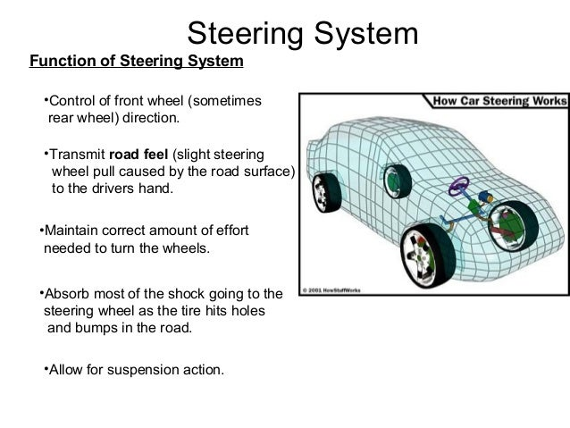 Steering System Function of Steering System •Control of front wheel (sometimes rear wheel) direction. •Maintain correct am...