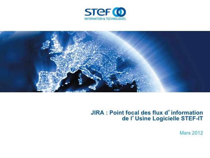 JIRA : Point focal des flux d'information           de l'Usine Logicielle STEF-IT                                Mars 2012