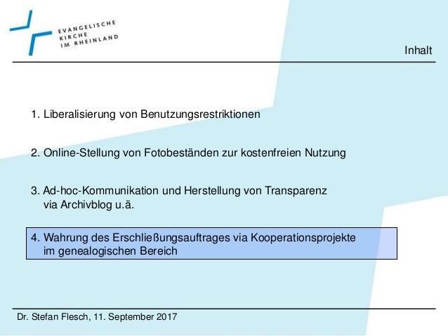 • WGfF Dr. Stefan Flesch, 11. September 2017 Genealogische Kooperationsprojekte