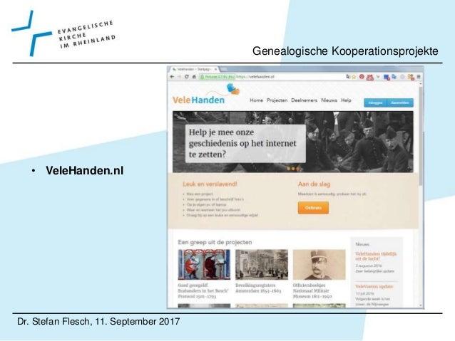 • CompGen Dr. Stefan Flesch, 11. September 2017 Genealogische Kooperationsprojekte