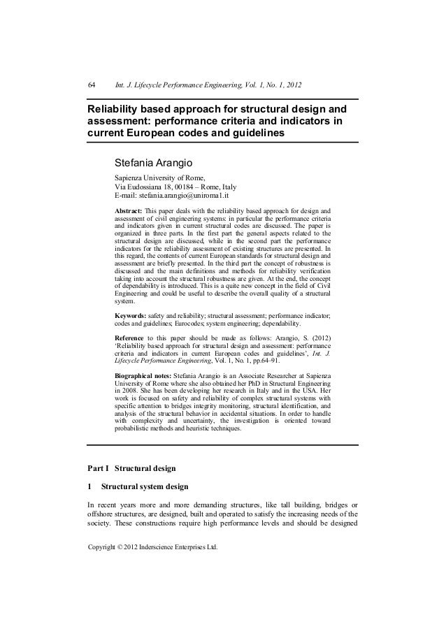 64       Int. J. Lifecycle Performance Engineering, Vol. 1, No. 1, 2012Reliability based approach for structural design an...