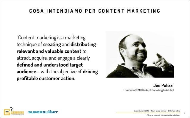 """COSA INTENDIAMO PER CONTENT MARKETING   """"Content marketing is a marketing technique of creating and distributing relevant..."""