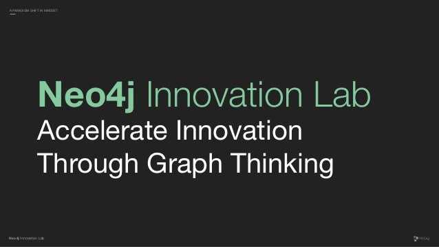 Neo4j Innovation Lab Neo4j Innovation Lab Accelerate Innovation Through Graph Thinking A PARADIGM SHIFT IN MINDSET
