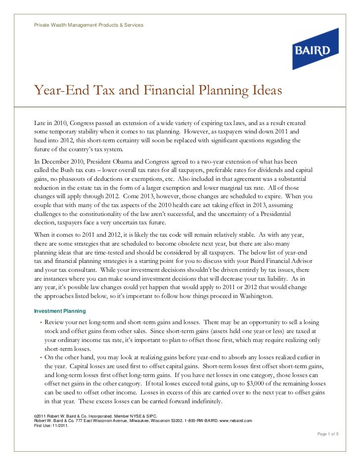 Private Wealth Management Products & ServicesYear-End Tax and Financial Planning IdeasLate in 2010, Congress passed an ext...