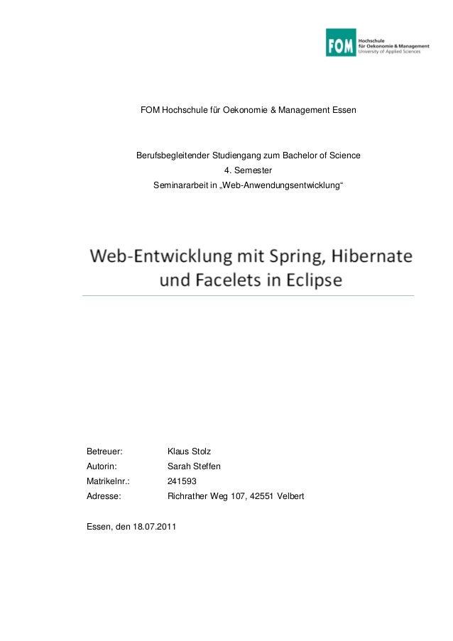 FOM Hochschule für Oekonomie & Management Essen Berufsbegleitender Studiengang zum Bachelor of Science 4. Semester Seminar...