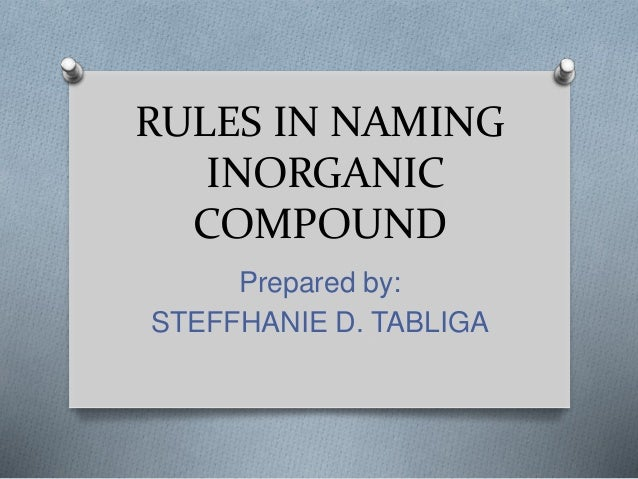 rules in naming organic compound