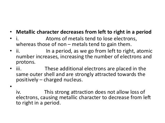 metallic character decreases from left to right in a period