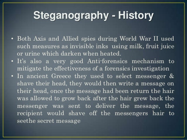 modern steganography Today, a dangerous new trend is emerging: steganography is increasingly being used by actors creating malware and cyber-espionage tools most modern anti- malware solutions provide little, if any, protection from steganography, while any carrier in which a payload can be secretly carried poses a.