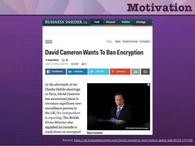 Motivation Source: http://uk.businessinsider.com/david-cameron-encryption-apple-pgp-2015-1?r=US