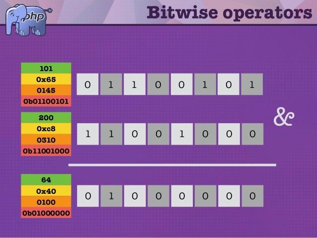 Bitwise operators 1 0 11 0 00 1 0 0 00 0 11 1 & 0 0 00 0 00 1 101 0x65 0145 0b01100101 200 0xc8 0310 0b11001000 64 0x40 01...