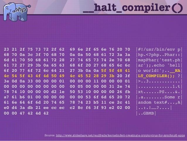 __halt_compiler() 23 21 2f 75 73 72 2f 62 69 6e 2f 65 6e 76 20 70 |#!/usr/bin/env p| 68 70 0a 3c 3f 70 68 70 0a 0a 50 68 6...