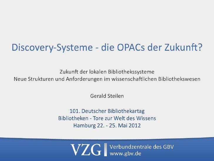 """Discovery*in*der*VZG*• VuFind*seit*2007*• Produk8ver*Betrieb*und*Entwicklung*seit*2008:*   """"Suchkiste""""*für*DFG*Na8onalli..."""