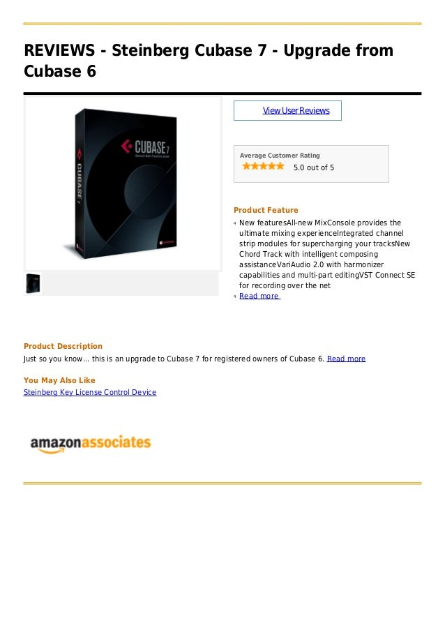 REVIEWS - Steinberg Cubase 7 - Upgrade fromCubase 6ViewUserReviewsAverage Customer Rating5.0 out of 5Product FeatureNew fe...