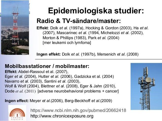 Epidemiologiska studier: Radio & TV-sändare/master: Effekt: Dolk et al. (1997a), Hocking & Gordon (2003), Ha et al. (2007)...