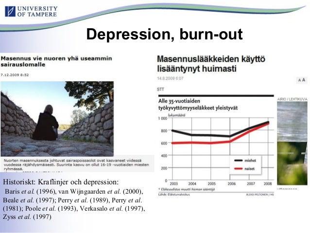 Depression, burn-out Historiskt: Kraflinjer och depression: Baris et al. (1996), van Wijngaarden et al. (2000), Beale et a...