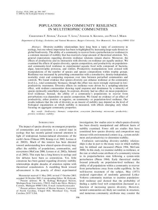 Ecology, 87(4), 2006, pp. 996–1007Ó 2006 by the Ecological Society of AmericaPOPULATION AND COMMUNITY RESILIENCEIN MULTITR...