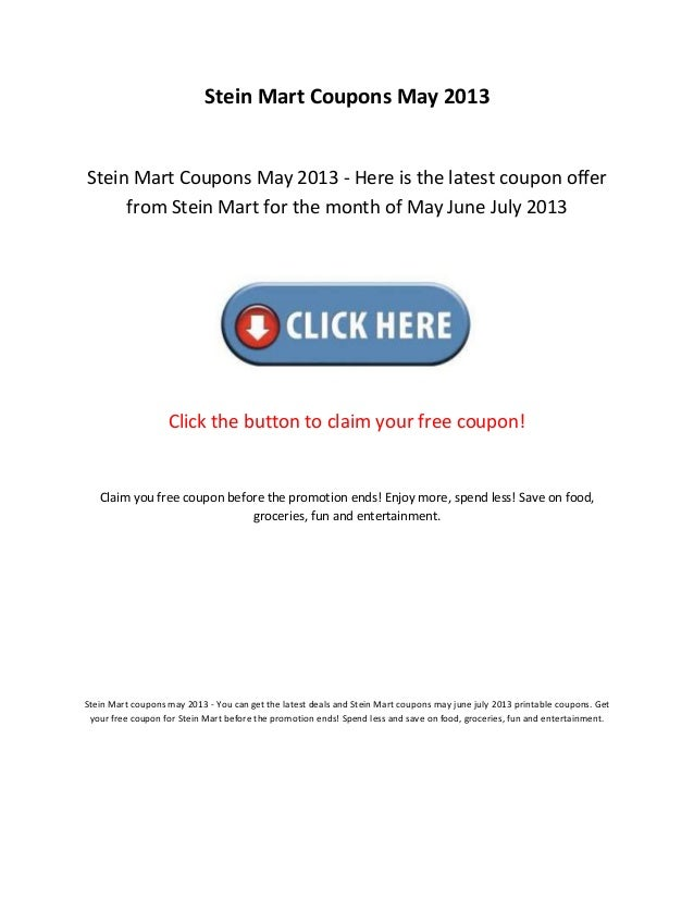photograph relating to Stein Mart Printable Coupon titled Stein mart discount coupons could 2013