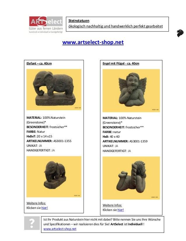 Steinstatuen ökologisch nachhaltig und handwerklich perfekt gearbeitet  www.artselect-shop.net  Elefant – ca. 40cm  Engel ...