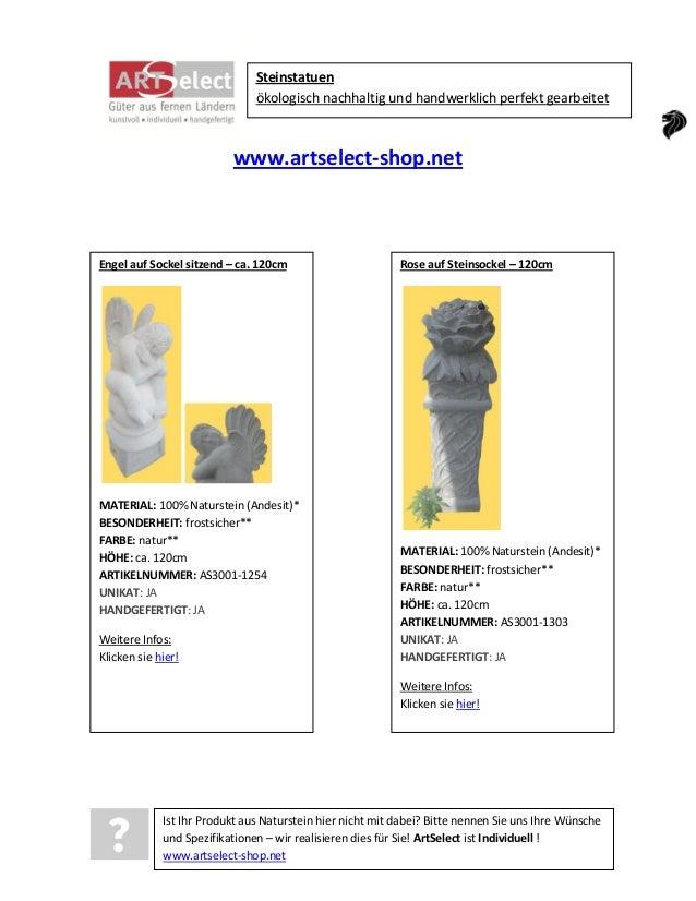 Steinstatuen ökologisch nachhaltig und handwerklich perfekt gearbeitet  www.artselect-shop.net  Engel auf Sockel sitzend –...