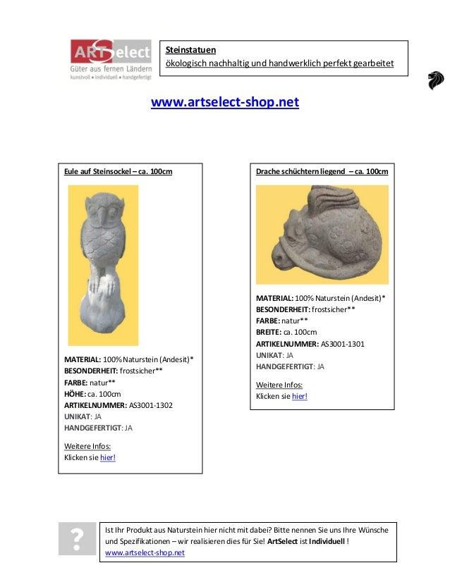 Steinstatuen ökologisch nachhaltig und handwerklich perfekt gearbeitet  www.artselect-shop.net  Eule auf Steinsockel – ca....
