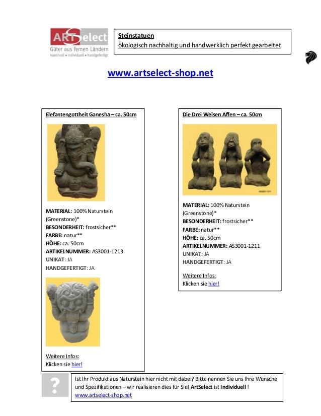 Steinstatuen ökologisch nachhaltig und handwerklich perfekt gearbeitet  www.artselect-shop.net  Elefantengottheit Ganesha ...