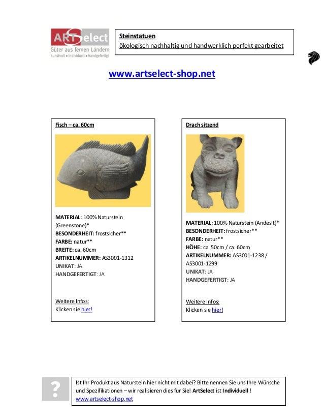 Steinstatuen ökologisch nachhaltig und handwerklich perfekt gearbeitet  www.artselect-shop.net  Fisch – ca. 60cm  MATERIAL...