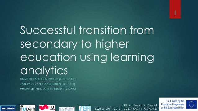 Successful transition from secondary to higher education using learning analytics TINNE DE LAET, TOM BROOS (KU LEUVEN) JAN...
