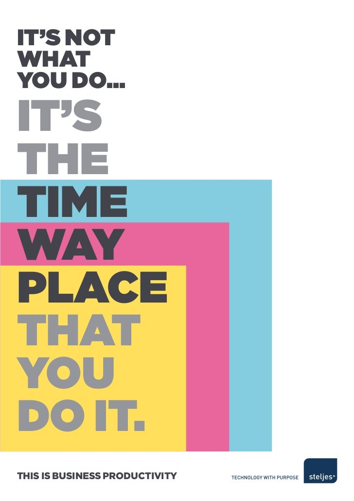 It's notwhatyou do...It'sthetIMewayPLaCethatyoudo It.This is Business ProducTiviTy