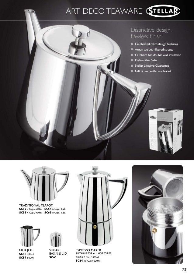 SC64 Coffee STELLAR Art Deco Hob Top Espresso Maker//Cafetiere 10 CUP Polished