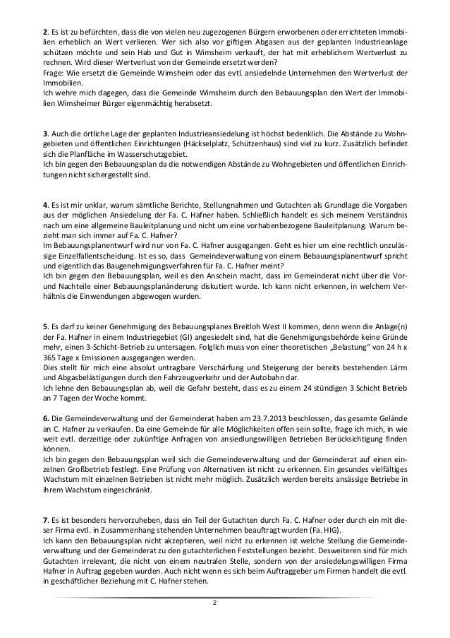 Stellungnahmen und Bedenken zum Bebauungsplanentwurf Slide 2