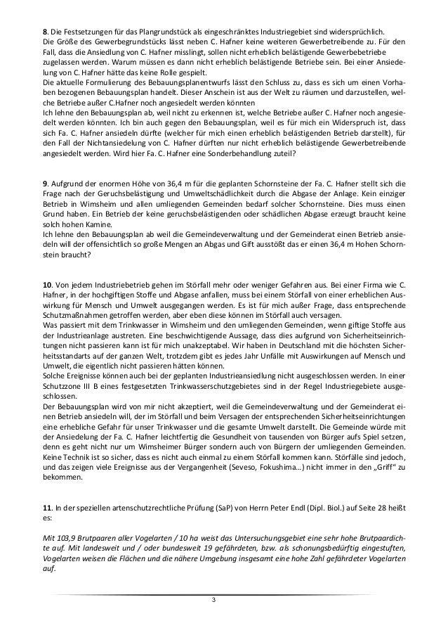 Stellungnahmen und Bedenken zum Bebauungsplanentwurf Slide 3