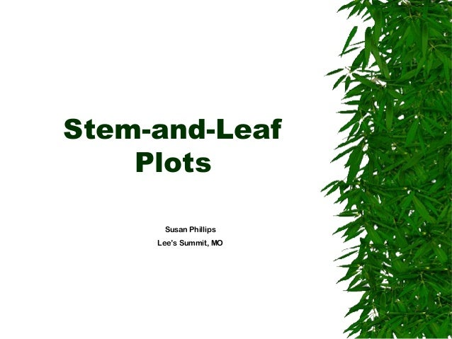Stem-and-Leaf Plots Susan Phillips Lee's Summit, MO
