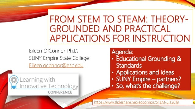 FROM STEM TO STEAM: THEORY- GROUNDED AND PRACTICAL APPLICATIONS FOR INSTRUCTION Eileen O'Connor, Ph.D. SUNY Empire State C...