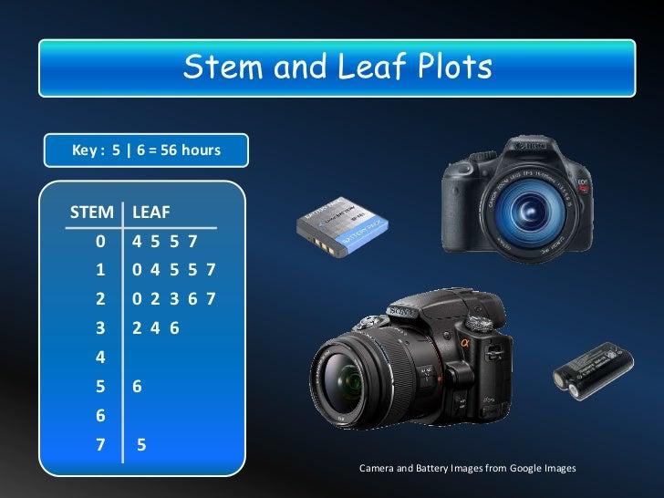 Stem and Leaf PlotsKey : 5 | 6 = 56 hoursSTEM LEAF   0 4 5 5 7   1    0 4 5 5 7   2    0 2 3 6 7   3    2 4 6   4   5    6...