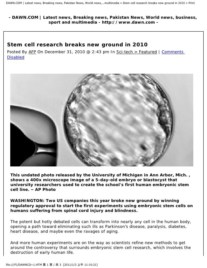 DAWN.COM | Latest news, Breaking news, Pakistan News, World news,...multimedia » Stem cell research breaks new ground in 2...