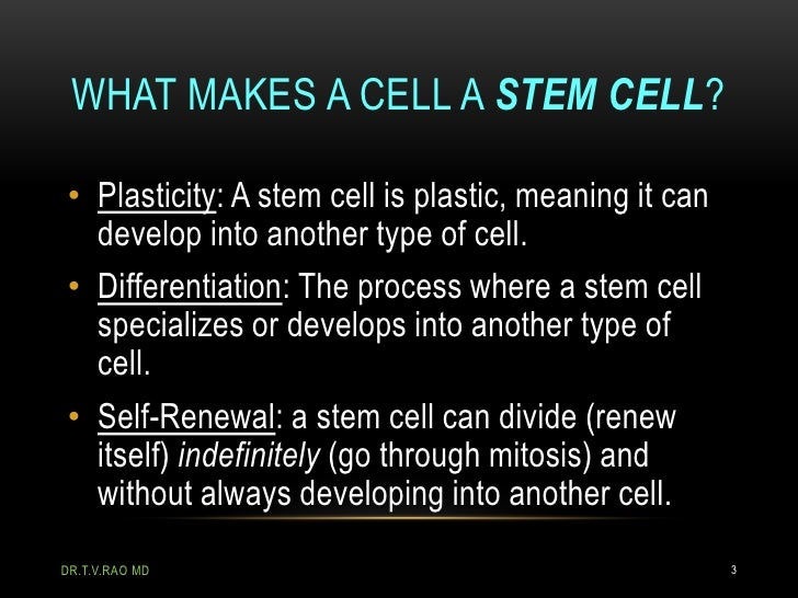 WHAT MAKES A CELL A STEM CELL?• Plasticity: A stem cell is plastic, meaning it can  develop into another type of cell.• Di...