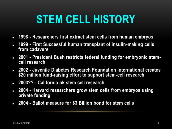 STEM CELL HISTORY   1998 - Researchers first extract stem cells from human embryos   1999 - First Successful human trans...