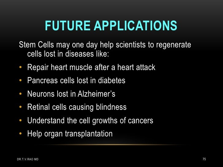 FUTURE APPLICATIONS Stem Cells may one day help scientists to regenerate   cells lost in diseases like: • Repair heart mus...