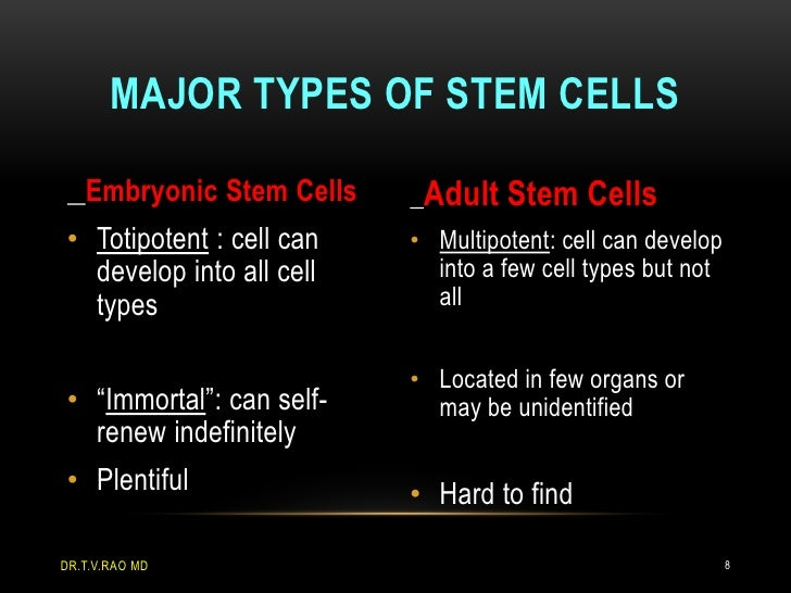 MAJOR TYPES OF STEM CELLS   Embryonic Stem Cells    Adult Stem Cells• Totipotent : cell can   • Multipotent: cell can deve...