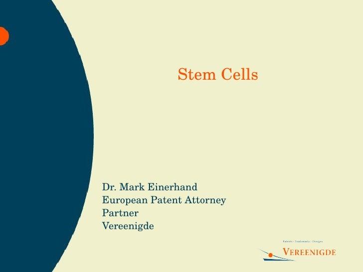 Dr. Mark Einerhand European Patent Attorney Partner Vereenigde Stem Cells