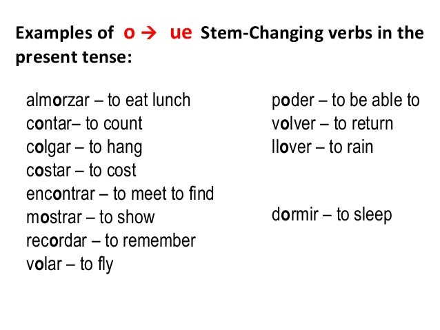 Stem change verbs