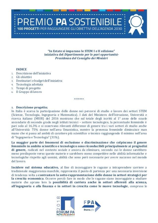 """""""In Estate si imparano le STEM I e II edizione"""" iniziativa del Dipartimento per le pari opportunità- Presidenza del Consig..."""