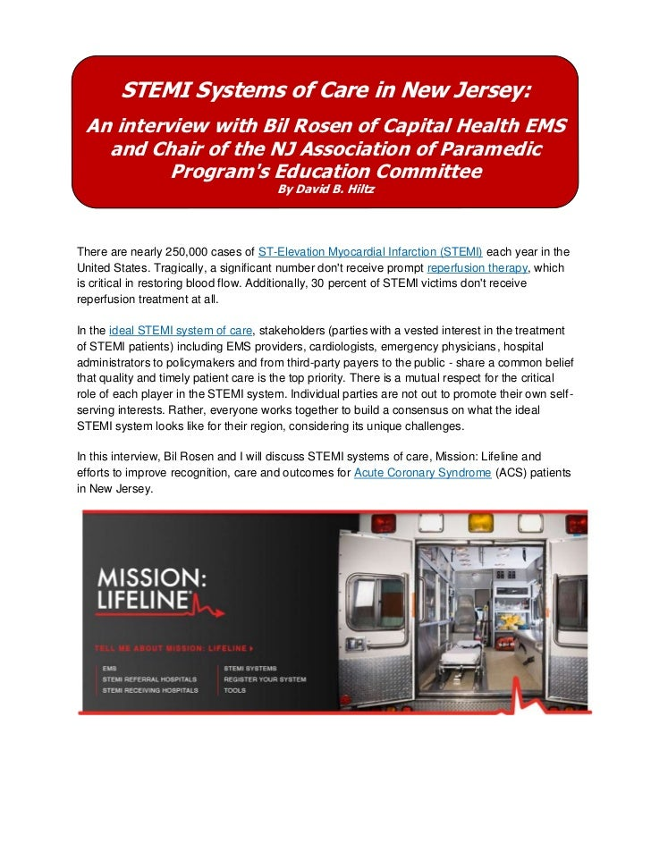 STEMI Systems of Care in New Jersey: An interview with Bil Rosen of Capital Health EMS   and Chair of the NJ Association o...