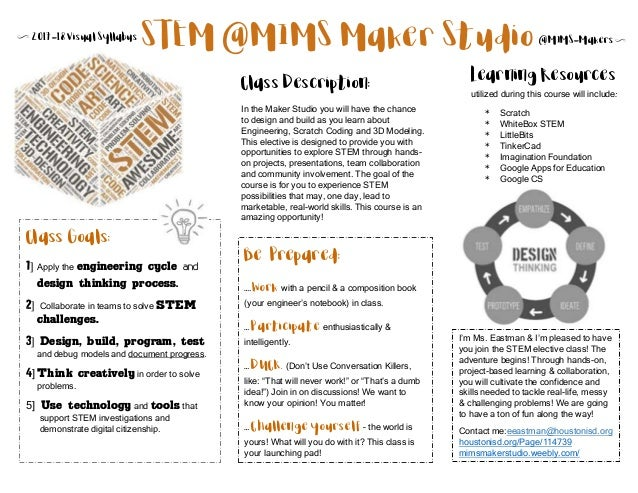 N 2017-18 Visual Syllabus @MIMS-MakersN Class Goals: 1] Apply the engineering cycle and design thinking process. 2] Collab...
